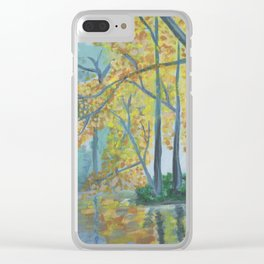 Spring Trees Reflecting Over Lake Clear iPhone Case
