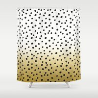 gold dots Shower Curtains featuring Dots on White&Gold by Oh Monday