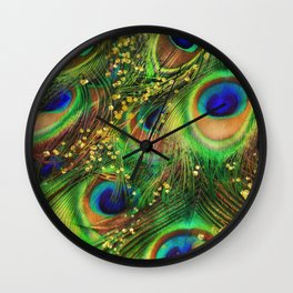 Fantasy Peacock Feathers laden with gold Wall Clock