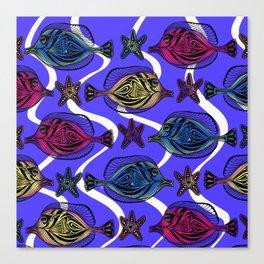 Here fishy FiShY FISHY…underwater gathering on purple blue Canvas Print