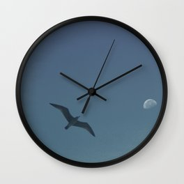 The seagull and the moon Wall Clock