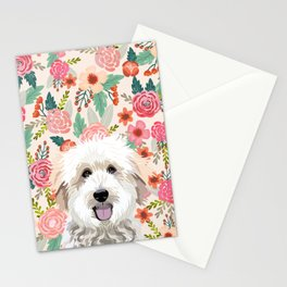 Golden Doodle florals pet portrait art print and dog gifts Stationery Cards