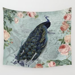 Vintage Victorian Peacock Bird and Roses Illustration Wall Tapestry