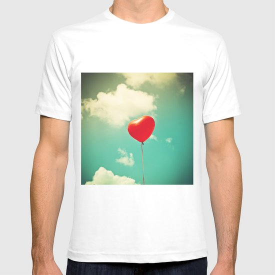 Red Heart Balloon in a Vintage Turquoise Sky  T-shirt