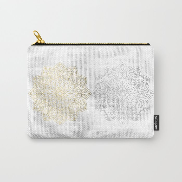 Gold Silver Mandala Pattern Illustration Carry-All Pouch