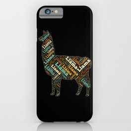 Llama Colorful Word Cloud iPhone Case