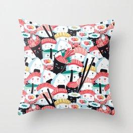 Kawaii Sushi Crowd Throw Pillow