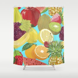 Galactic Fruits - Colorful Shower Curtain