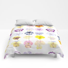 colorful pansies watercolor painting Comforters