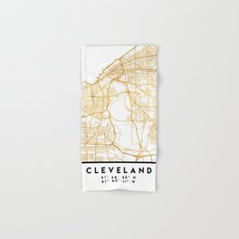 CLEVELAND OHIO CITY STREET MAP ART Hand & Bath Towel