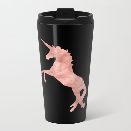 Unicorn Pink Rose Gold Black Metal Travel Mug
