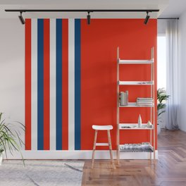 Retro Stripes Pop Art - Red White Blue Wall Mural