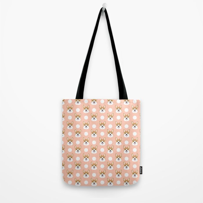 Corgi polka dots peach blush pastel pink coral welsh corgi iphone case for dog lover gifts for dogs Tote Bag
