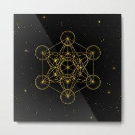 Metatron's Cube Sacred Geometry Black and gold Metal Print