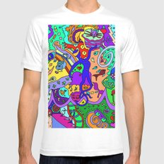 Abstract 35 MEDIUM White Mens Fitted Tee