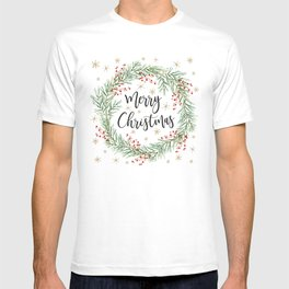 Merry Christmas wreath with red berries T-shirt