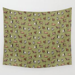 Tiny Goats on Green - Goat Herd Pattern Wall Tapestry