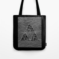 joy division Tote Bags featuring Triforce // Joy Division by Daniel Mackey