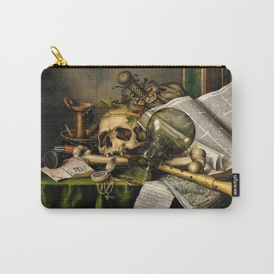 Vintage Vanitas- Still Life with Skull Carry-All Pouch
