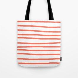 Simply Drawn Stripes in Deep Coral Tote Bag