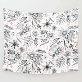 black and white floral Wall Tapestry