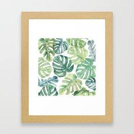 Tropical leaves Monstera leaves Jungle leaves Palm leaves Framed Art Print