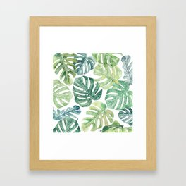 Tropical leaves Monstera leaves Jungle leaves Palm leaves Framed Art Print