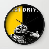 taxi driver Wall Clocks featuring Travis Bickle Taxi Driver by Maxim Garg