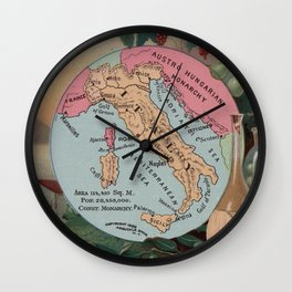Vintage Map of Italy with Illustrations (1890) Wall Clock