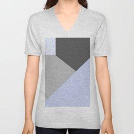 Gray , blue , patchwork Unisex V-Neck