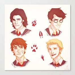 Mooney, Wormtail, Padfoot, and Prongs Canvas Print
