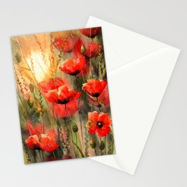Real Red Poppies Stationery Cards
