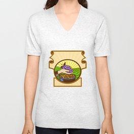 Hand Holding Grapes Raisins Crest Woodcut Unisex V-Neck
