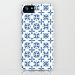 Damask pattern design in blue iPhone Case