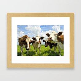 Four chatting cows Framed Art Print