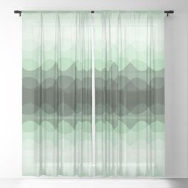 Pastel Mint Green Overlapping Wavy Line Pattern Pairs to Coloro 2020 Color of the Year Neo Mint Sheer Curtain
