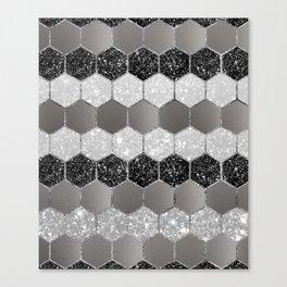 Silver Hexagon Glitter Glam #1 #geometric #decor #art #society6 Canvas Print