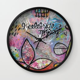 """Celebrate Myself"" Mixed Media Collage with Whimsical Imaginary Flowers Wall Clock"