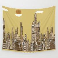 detroit Wall Tapestries featuring Detroit skyline vintage  by bri.buckley