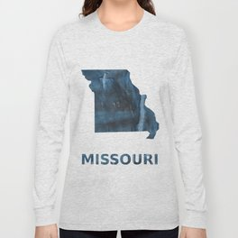 Missouri map outline Dark Gray Blue clouded watercolor pattern Long Sleeve T-shirt