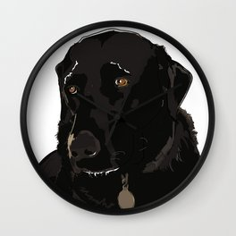 Labrador dog face (black) Wall Clock