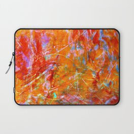 Abstract with Circle in Gold, Red, and Blue Laptop Sleeve