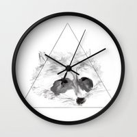 racoon Wall Clocks featuring Racoon by Girard Camille