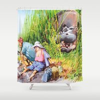 hippo Shower Curtains featuring hippo! by Rose Rigden