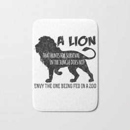 A Lion That Hunts For Survival Bath Mat
