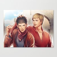 merlin Canvas Prints featuring Merlin by Drag Me To Work