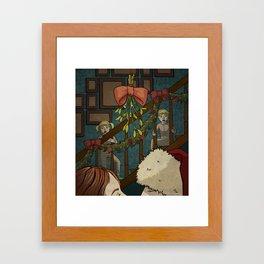 Under the mistletoe Framed Art Print