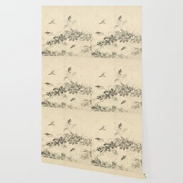 Vintage Chinese Ink and Brush Painting and Calligraphy Wallpaper