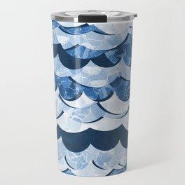 Abstract Blue Sea Waves Design Travel Mug