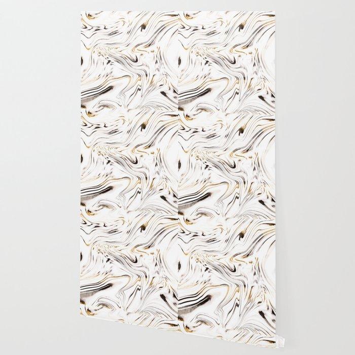 Liquid Gold Silver Black Marble 1 Decor Art Society6 Wallpaper
